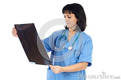 Radiografía de la pizca del doctor de la mujer