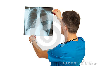 Radiologist checking xray
