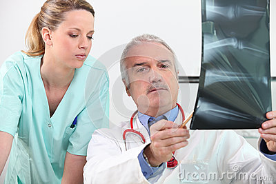 Radiologist and his assistant