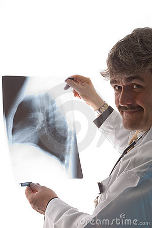 Radiologist with x-ray
