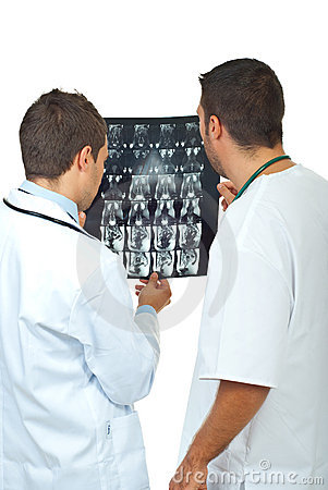 Radiologists men examine MRI
