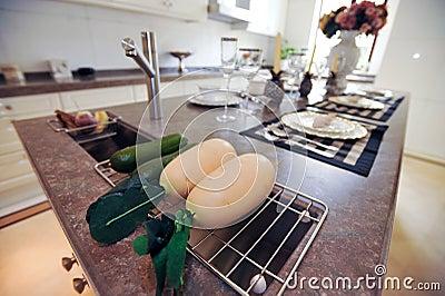 Radish in a Modern design kitchen white cupboard