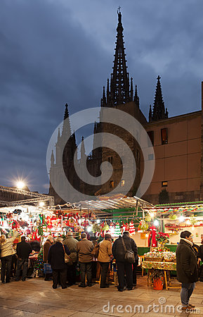 Raditional Christmas market near Cathedral. Barcelona Editorial Image