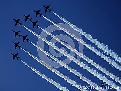 RADOM, POLAND - August 30: RAF Red Arrows (Royal A Editorial Photography