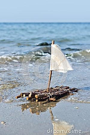 A raft at the sea