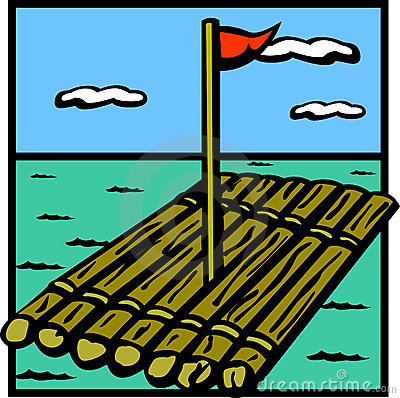 Raft wooden ship vector illustration