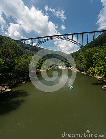 Free Rafters At The New River Gorge Bridge In West Virginia Royalty Free Stock Photo - 76490215