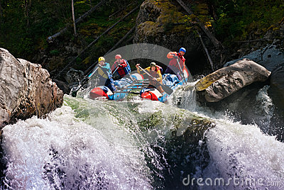 Rafting on dangerous mountain river