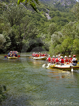Rafting on river Cetina 1 Editorial Stock Photo