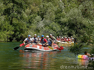 Rafting on river Cetina Editorial Stock Photo