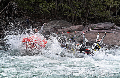 Rafting team celebrating win Editorial Image