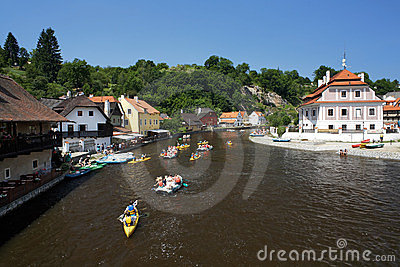 Rafting on Vltava river in Cesky Krumlov Editorial Image