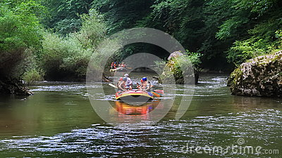 Rafting in a wild gorge Stock Photo