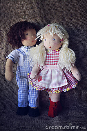 Rag boy and girl dolls