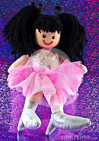 Rag doll on floral background