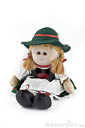 Rag doll in national Austrian costume isolated