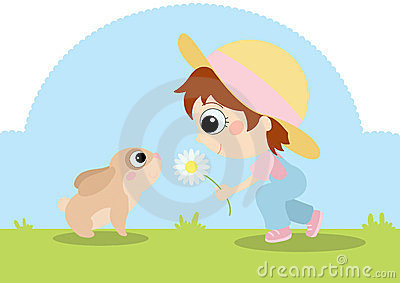 Ragazza con il coniglietto