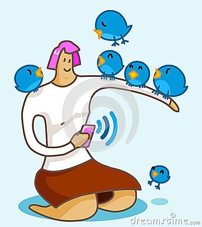 Ragazza sull uccello del Twitter Fotografia Stock Editoriale
