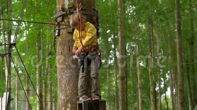 Ragazzino in un cavo di sicurezza che si prepara per guidare uno zipline in cime d'albero in un parco di avventura della foresta  stock footage