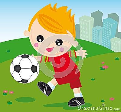 Ragazzo di gioco del calcio