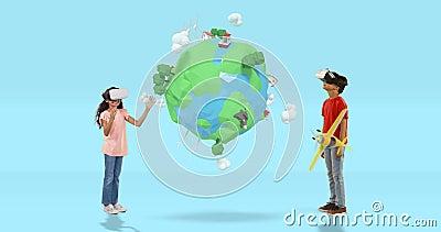 Ragazzo e ragazza che per mezzo della cuffia avricolare di realtà virtuale con le icone digitalmente generate 4k di viaggio video d archivio