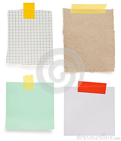 Ragged note paper and adhesive tape