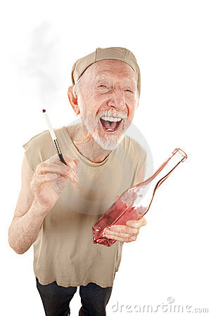 Ragged senior man with cigarette and liquor