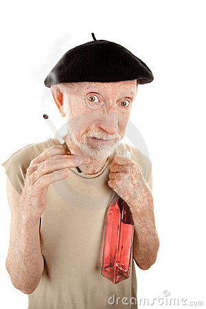 Ragged senior man with cigarette and liquor
