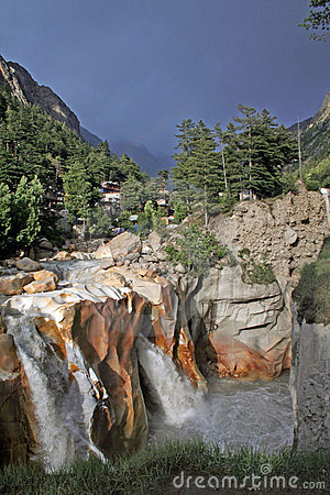 Raging wild torrent waterfall gangotri India