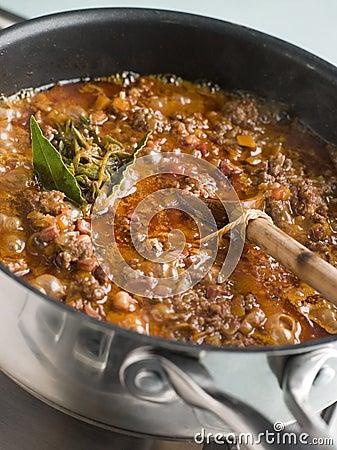Ragu Sauce in a Saucepan
