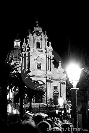 Free Ragusa Ibla Nocturne Of Cathedral Of Holy George Stock Photography - 4112932