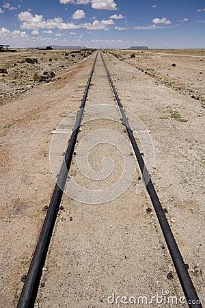 Rail tracks in Bolivian desert