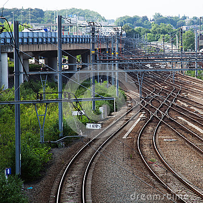 Rail tracks in Liège, Belgium