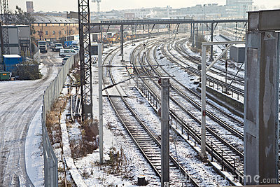 Rail Tracks in Snowy London