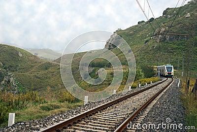 Rail train in countryside