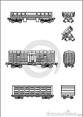 A rail wagon vector
