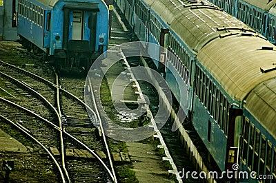 Rail Yard with Old Train Cars