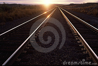 Railorad tracks, sunset