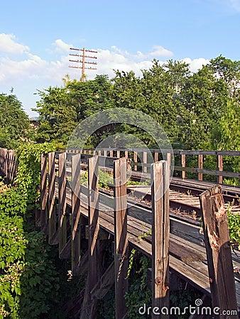 Railroad bridge in disrepair