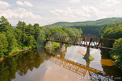 Railroad bridge over river