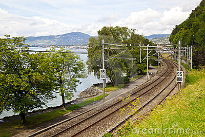 Railroad in the coastline of Lake Leman