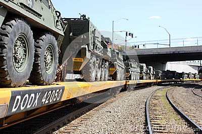 Railroad Convoy of military vehicles. Editorial Image