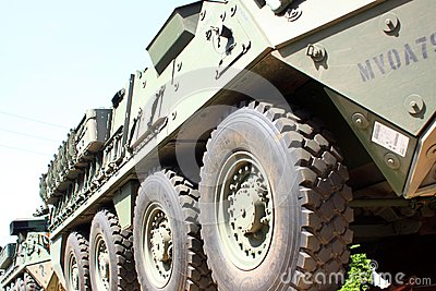 Railroad Convoy of military vehicles. Editorial Stock Image