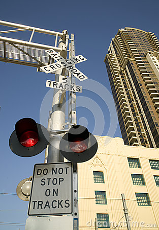Railroad Crossing Warning Lights Downtown