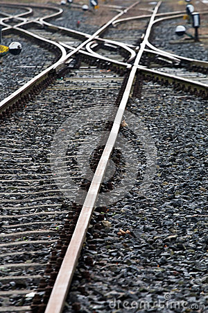 Railroad crossing on the gravel