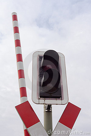 Railroad crossing signal light and open bar