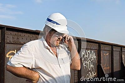 Railroad Engineer on Phone