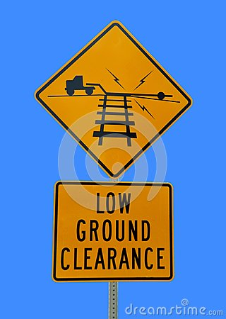 Railroad low clearance sign