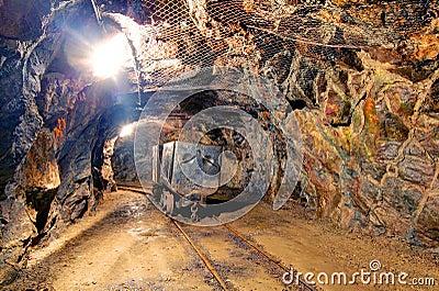 Railroad mine tunnel