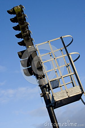 A railroad semaphore